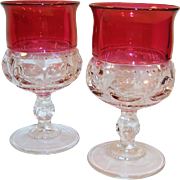 "TWO Excellent: King's Crown Ruby Flashed Water Goblets 5 5/8"" Tall"