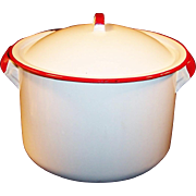 Vintage White Enamelware Stock Pot with Red Trim