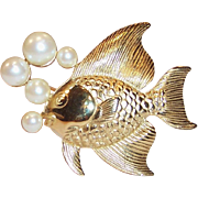 Fun Angel Fish & Simulated Pearls Pin