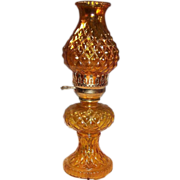 Vintage Amber Glass Hurricane Lamp