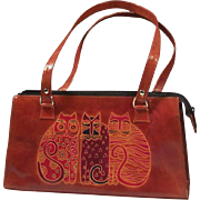 Laurel Burch Tres Gatos  (or Feline Friends) Leather Purse.