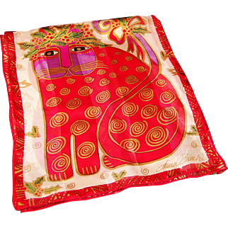 Laurel Burch Festive Feline Christmas Silk Scarf