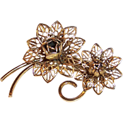 Vintage Lacy Double Bloom Flower Pin / Brooch