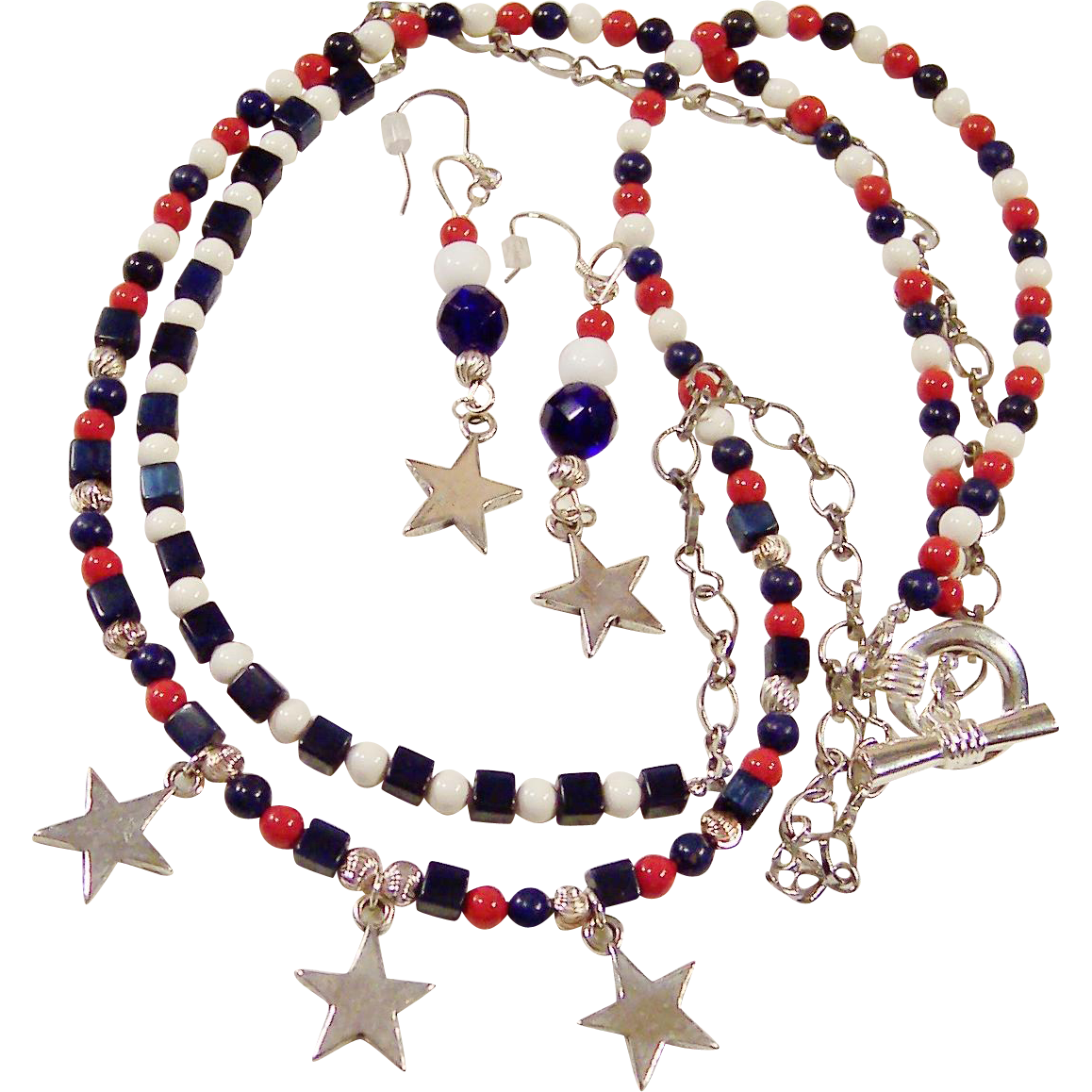 Sterling Stars with Red, White, & Blue Double Strand Necklace / Earrings
