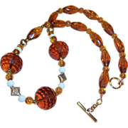 Warm Honey Amber Glass Necklace