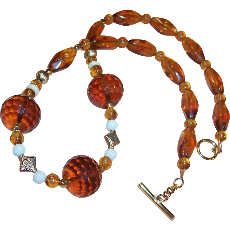 Honey Amber Faceted Glass Necklace -- Warm Autumn Fall Colors!