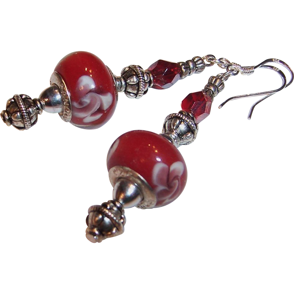 Red Floral Art Glass & Sterling Silver Earrings