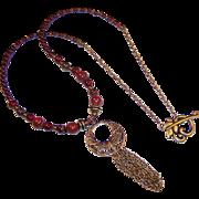 OOAK Hand Crafted Jasper, Red Garnet, Brass and Bronze Boho Tassel Necklace