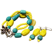 Aqua Blue & Neon Yellow Multi Strand Bracelet & Earrings Set