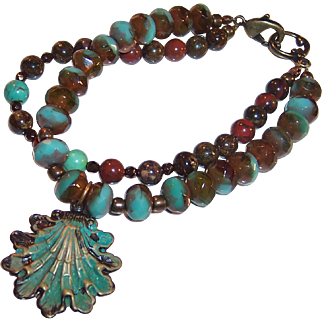 Hand Crafted Czech Glass Topaz, Bronzite, Jasper and Brass  OOAK Shell Bracelet