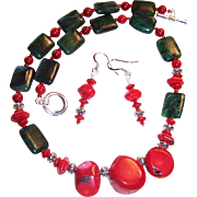 Bold Red Bamboo Coral & Australian Jasper Necklace & Complimentary Earrings