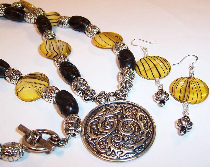 "Yellow & Ebony ""Hope"" Necklace & Earrings Set"