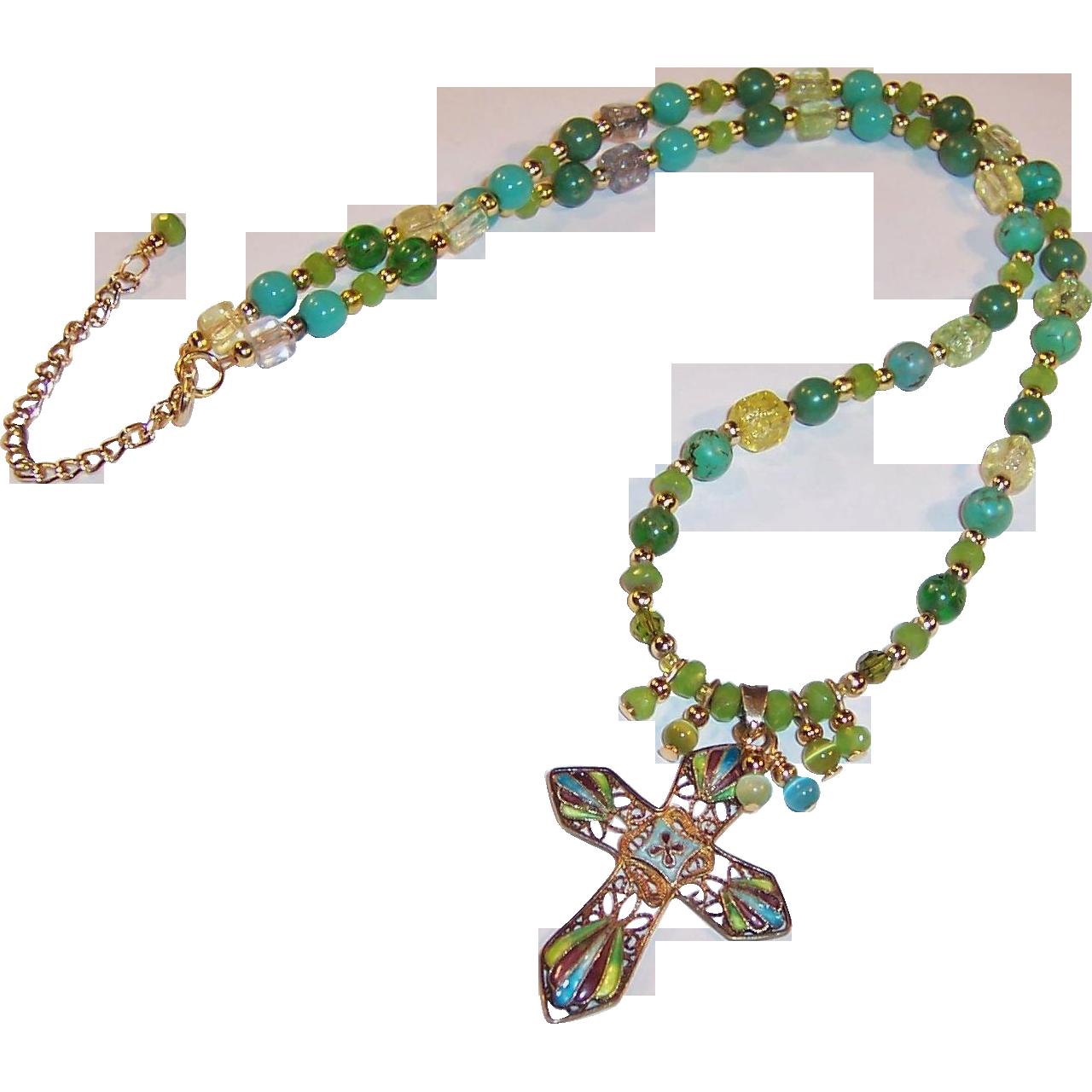 Vintage Enameled Vermeil Cross Pendant Artisan Necklace
