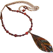 Leaf Pendant Necklace with Garnet Gemstones, Apple Jasper, Fire Polished Amethyst, and  Bronze