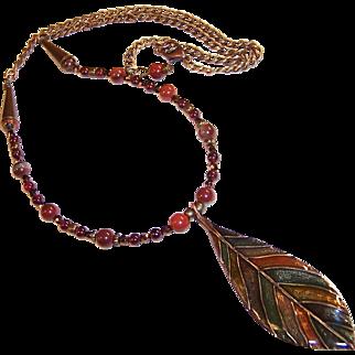 Leaf Pendant Necklace with Garnet Gemstones, Apple Jasper, Fire Polished Amethyst, and  Bronze