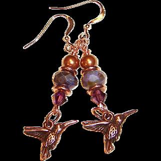 OOAK Amethyst, Copper, & Rose Gold Humming Bird  Earrings