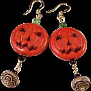 Jack-O-Lantern Pumpkin OOAK 14K Gold Earrings