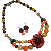 MOD & Fun Handcrafted Leather, Wood & Turquoise Necklace & Earrings