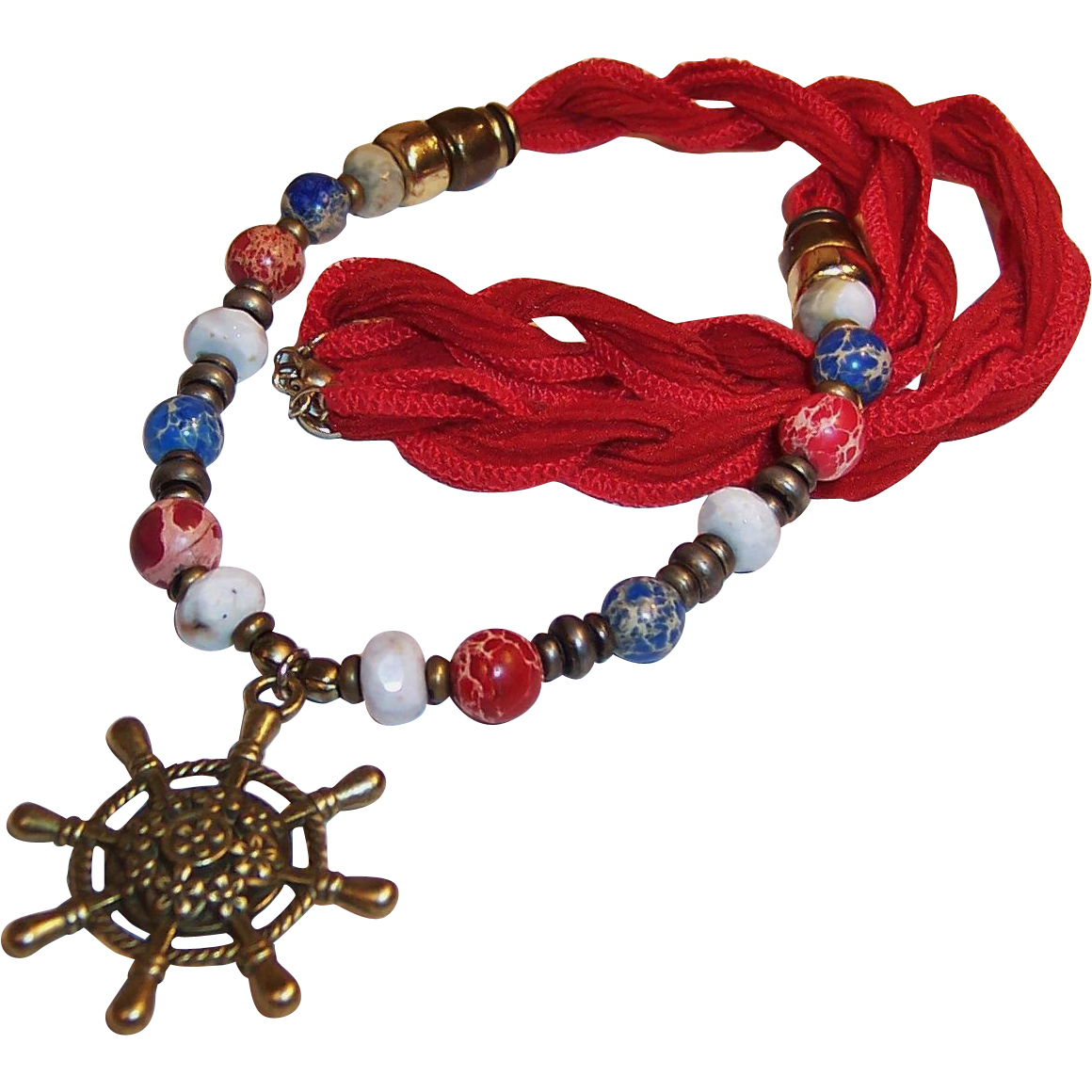 Gemstone & Ships Wheel Nautical Necklace