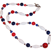 "Jasper, Howlite and Ceramic Red, White, & Blue 29"" Necklace"