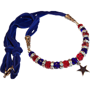 Sparkling Red & Blue Crystals with a Sterling Star Pendant Necklace