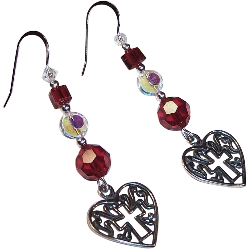 Sterling Silver Ultimate Love Story: Ruby Red Heart & Cross Earrings