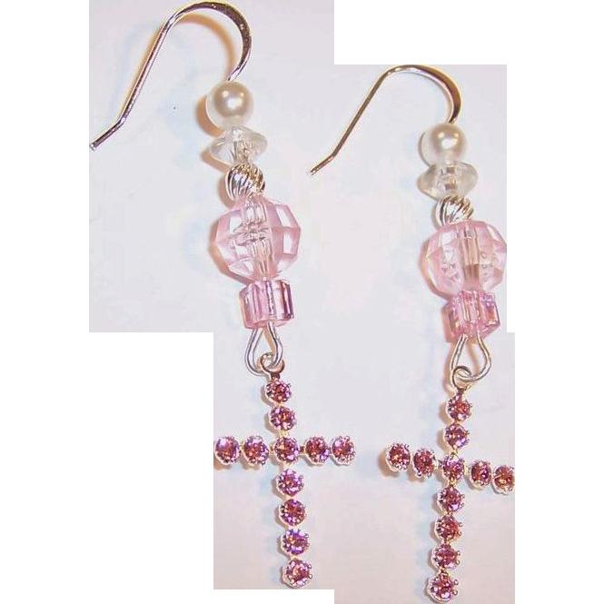 Swarovski Crystal Cross & Sterling Silver Earrings