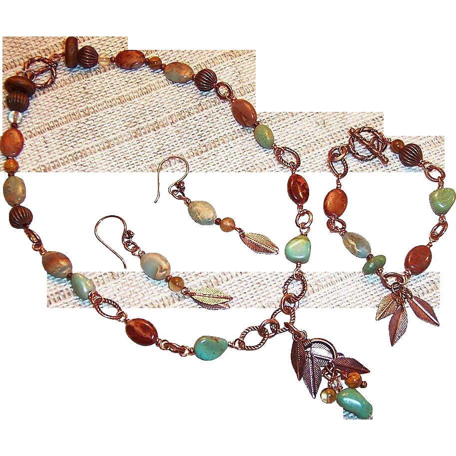 Earthy Turquoise Nugget & Terra Jasper Set: Earrings with Changeable Necklace, & Bracelet