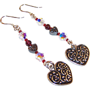 Hearts & Sparkle Dangling Sterling Wire Earrings