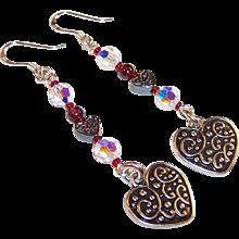 Hearts & Sparkle Dangling Sterling Wire Earrings