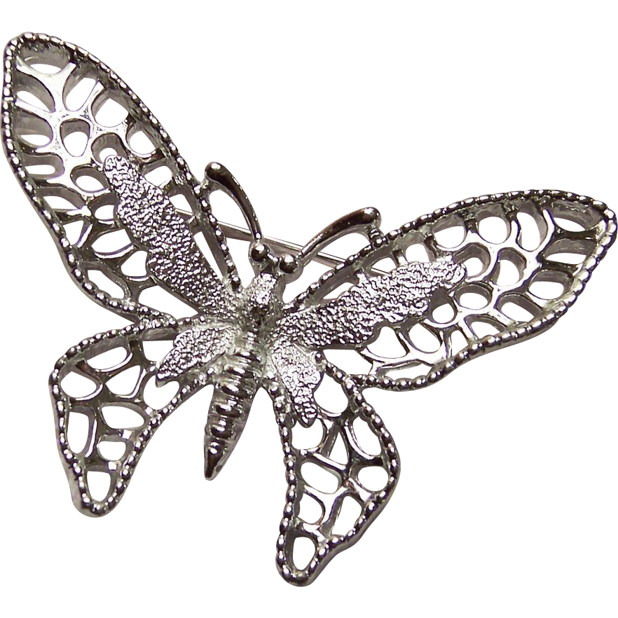 Sarah Coventry Silvertone Madam Butterfly Brooch