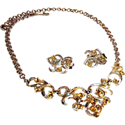 Coro Amber Rhinestone Demi Parure in Box ~ Necklace & Earrings
