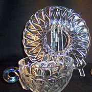 SET of 2: Indiana Glass Pretzel Pattern Cups & Saucers
