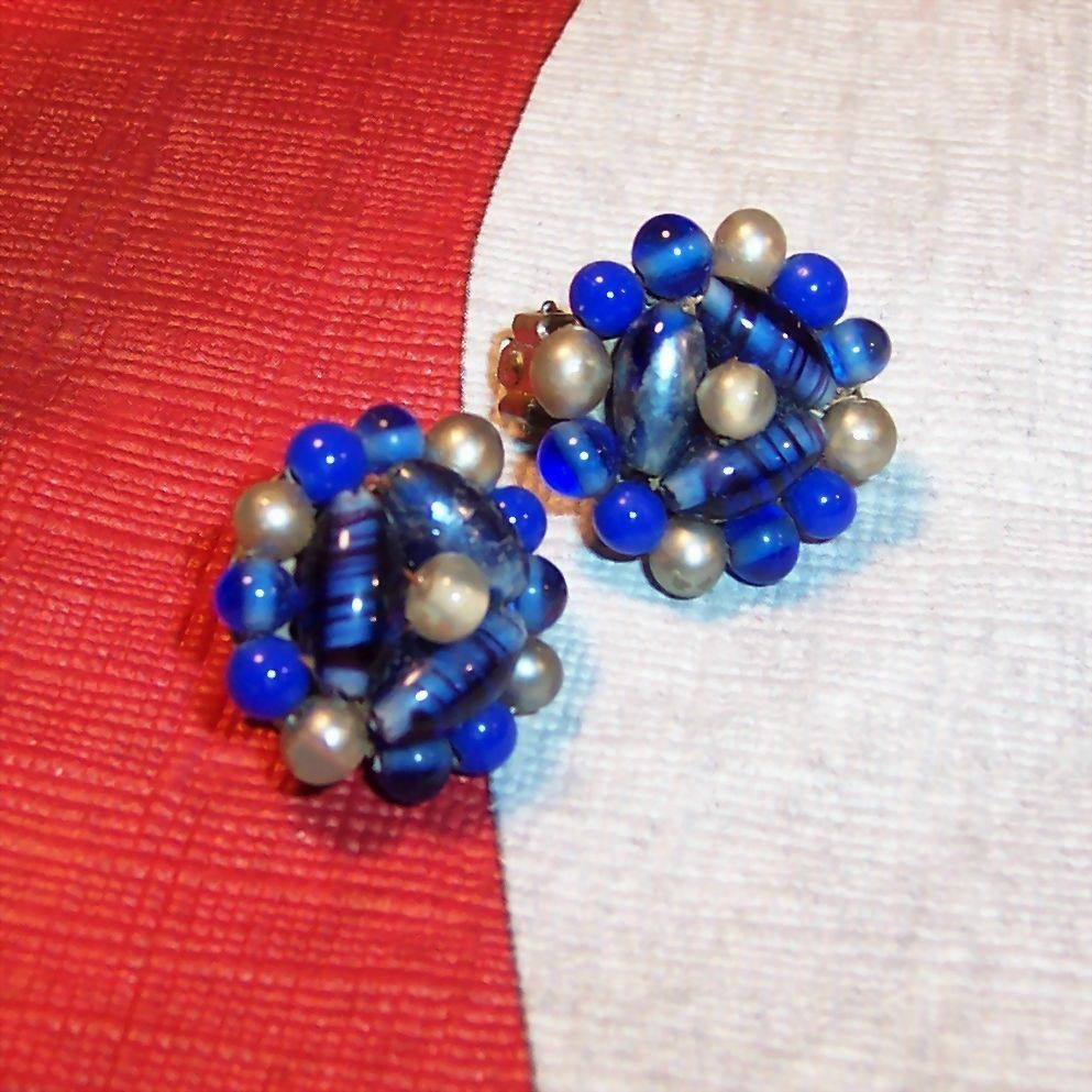 Vintage Blues Beaded Earrings Japan