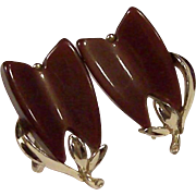 Lisner Thermoset Modern Brown Tulip Design Earrings