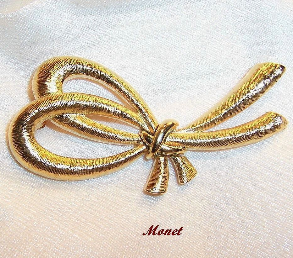 Monet Modern Stylized Bow Brooch