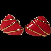 Red Enamel Monet Modernist Clip Earrings