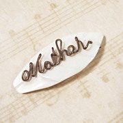"Mother of Pearl ""Mother"" Script Pin"