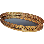 Vintage Vanity Oval Mirrored Tray