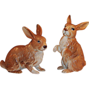 Set of TWO: Brown Lefton Bunny Rabbits H6664