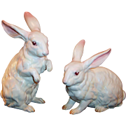 LARGE Lefton Pair White Albino Bunny Rabbits H6660