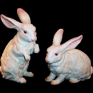 LARGE Lefton Pair White Albino Bunny Rabbits H6660