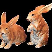 LARGE Pair of Lefton Brown Bunnies H6661
