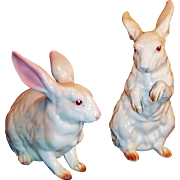 LARGE PAIR of Lefton White Rabbits H6660  Great Easter Decor!