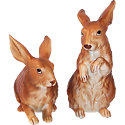 LARGE Set of 2: Lefton Brown Bunny Rabbits H6661