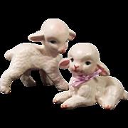 Sweet Pair Lefton Lambs for Nursery or Easter