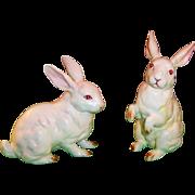 Lefton H880 White Porcelain Easter Bunny Rabbits ( Pair)