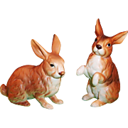 Pair of Lefton Brown Bunny Rabbits H6664 -- Cute for Easter, Spring, or a Nursery!