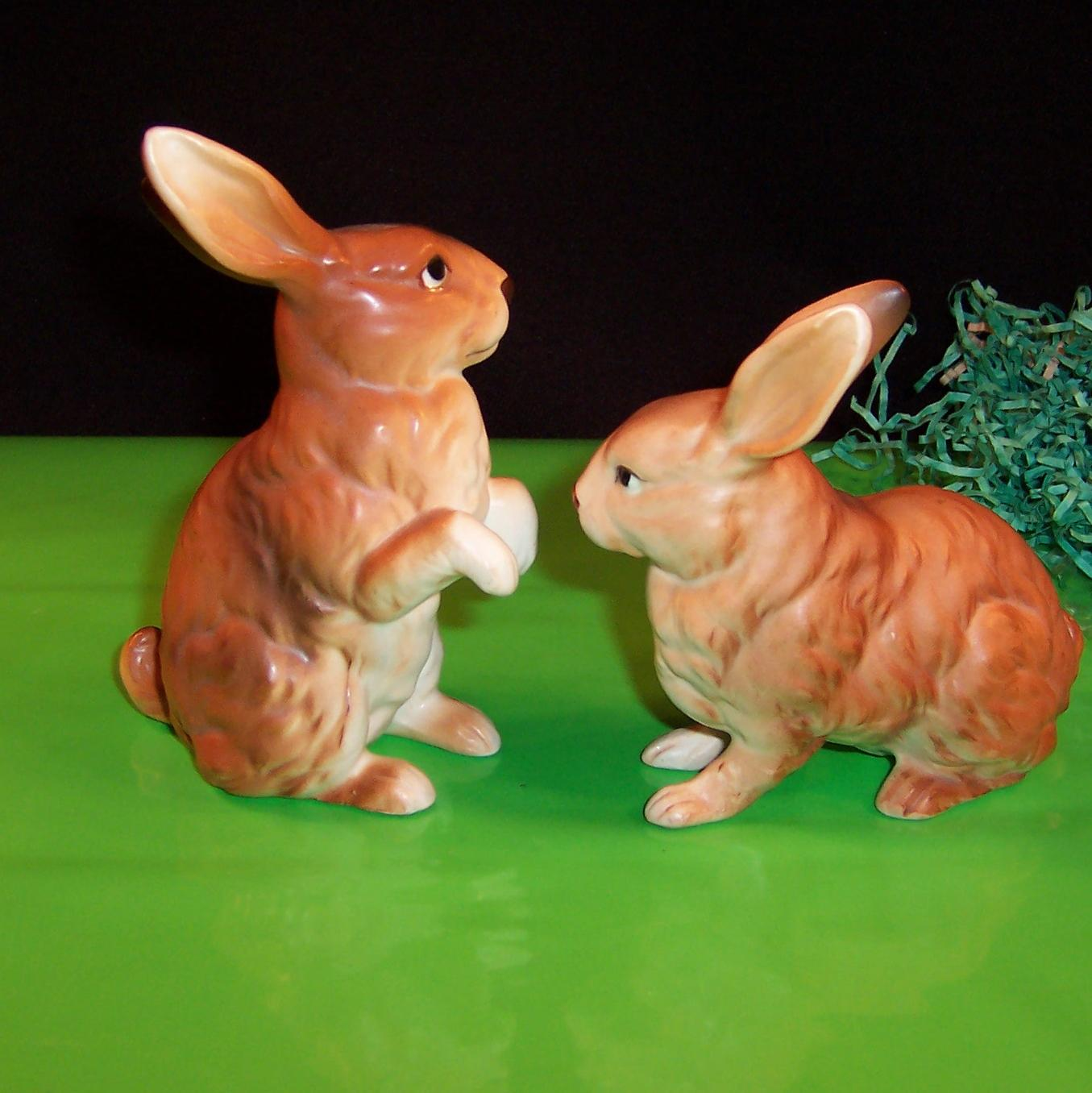 pair of lefton brown bunny rabbits h6664 cute for easter