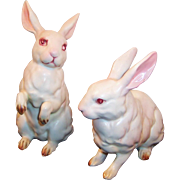 Vintage Lefton H880 White Porcelain Easter Bunny Rabbits